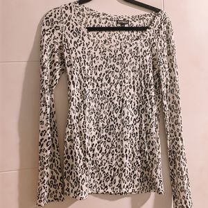 EXPRESS white leopard print long sleeve